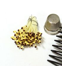 Bunch of Double Ended Brown on Yellow 2mm Flower Making Peps